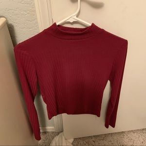 Cropped mock neck maroon top